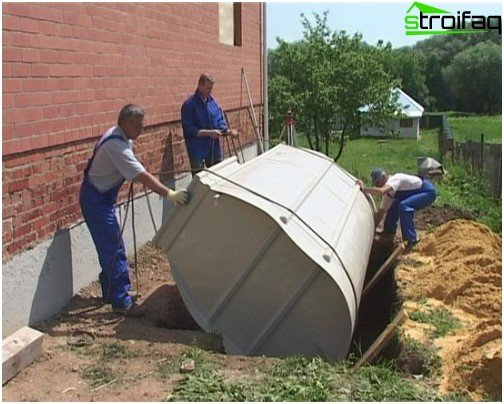 Installation of a septic tank