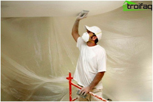 Resurfacing concrete ceiling