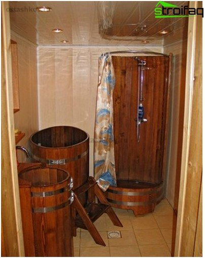 Wooden shower in bath