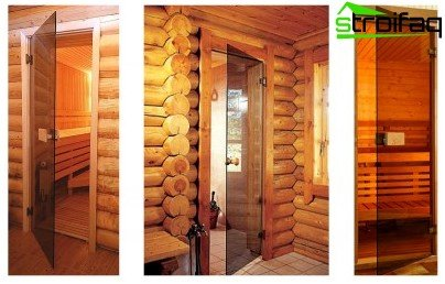 Glass doors for bathroom and sauna