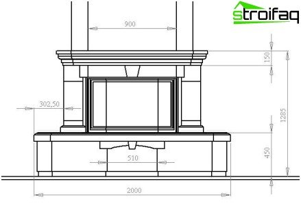 Drawing decorative fireplace