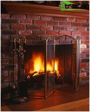 Decorative brick fireplace
