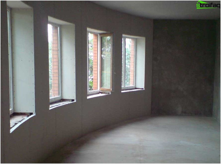 Slopes of plasterboard