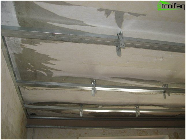 The frame plasterboard ceiling