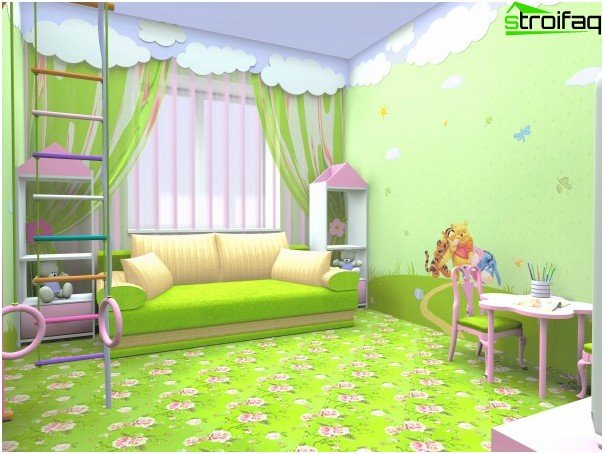 The successful combination of themes wallpaper with the general character of the interior