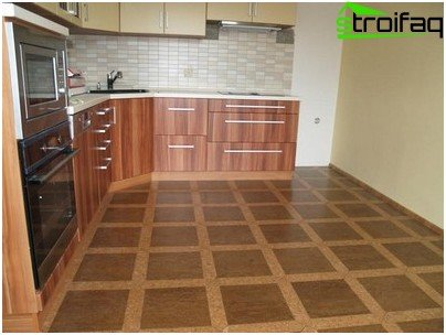 Semi-commercial linoleum in the kitchen