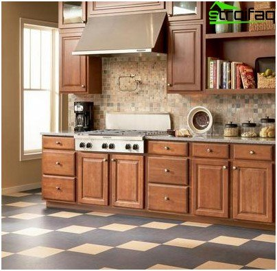 Linoleum flooring in the kitchen