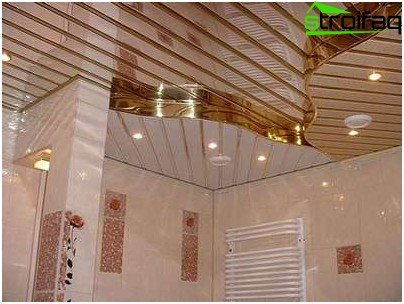 Rack suspended ceiling in the bathroom