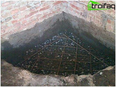 Construction of foundation for the fireplace
