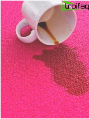 The liquid on the carpet