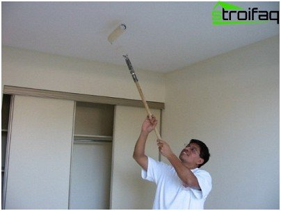 Staining the ceiling roller with a long handle