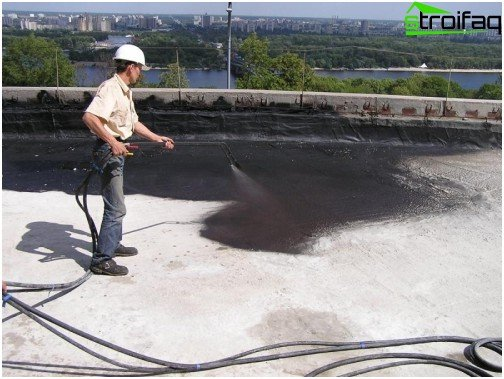 Waterproofing of liquid rubber flat roof