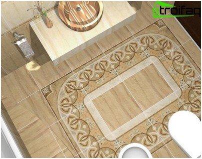 Floor tiles in the bathroom