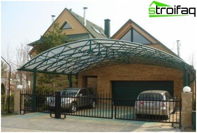 canopy made of polycarbonate