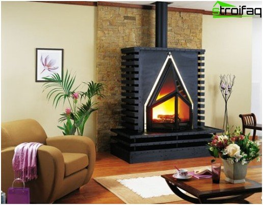 The fireplace in the style of hi-tech