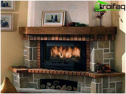 Semi-open brick fireplace