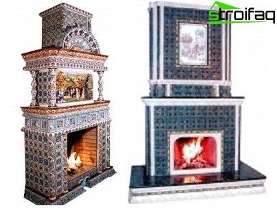 Fireplace in the interior cladding tiles