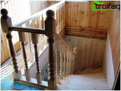 Wooden staircase to the attic