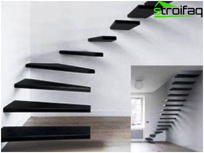 Stairs made of metal rails