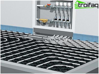 Installation of water underfloor heating