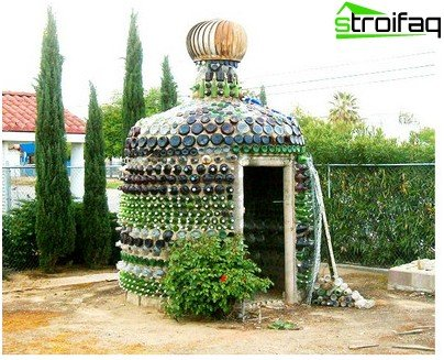 garden furniture made of bottles