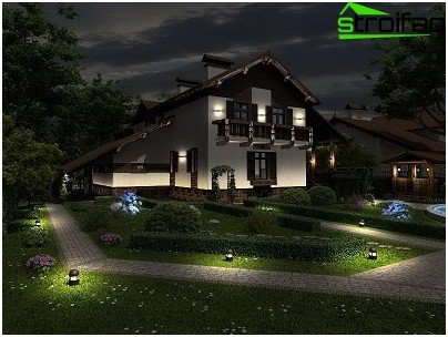 Street (outside) country house lighting