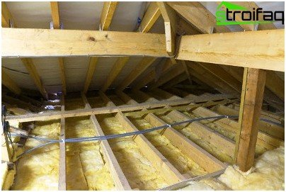 Thermal insulation of the ceiling bath