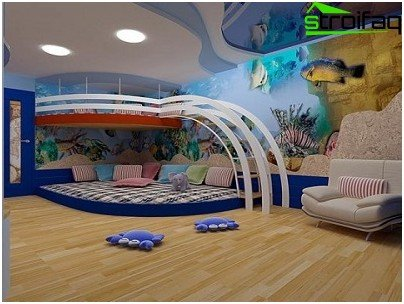 Multilevel stretch ceiling for a child's room