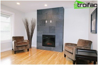 Fireplace, finished granite
