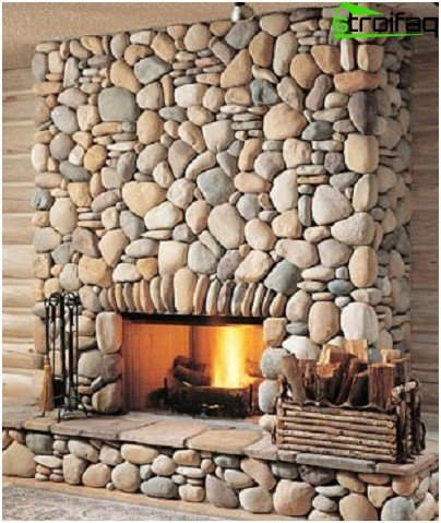 Option facing fireplace with natural stone