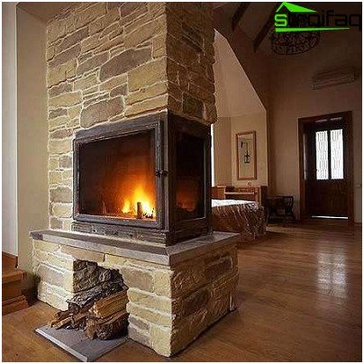 Natural stone fireplace in the decoration