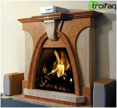 Fireplace of marble slabs