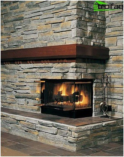 Fireplace made of artificial stone