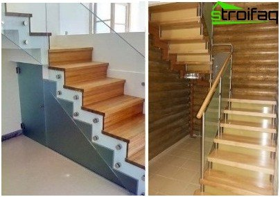 Facing concrete staircase tree with glass railings