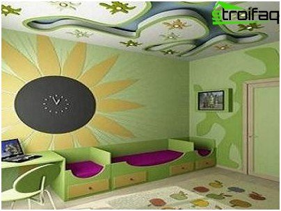 The original solution to the ceiling in the children's room