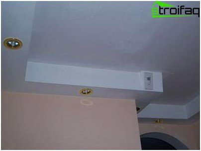 The backlight on the ceiling plasterboard