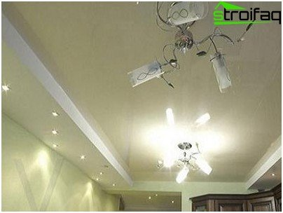 Using a combination of stretch ceiling and the ceiling of plasterboard in the kitchen