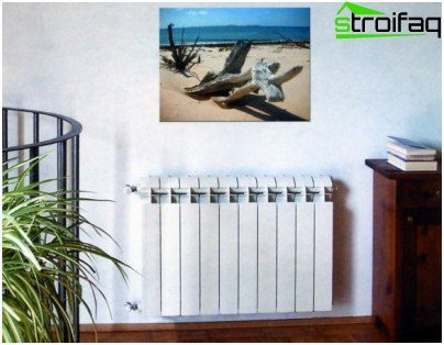 Bimetallic radiator in the interior of the apartment