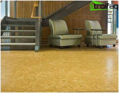 Cork flooring in the interior