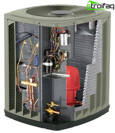 An air heat pump in sectional
