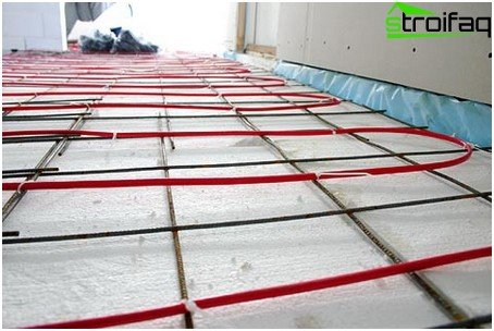 Floor heating via cable