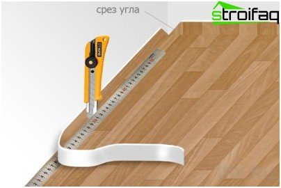 Trim excess linoleum