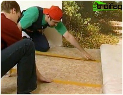 Fixing adhesive tape on the carpet