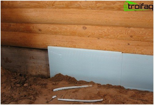 Thermal insulation on the inside of the foundation