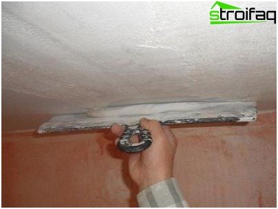 Proper application of putty to the ceiling