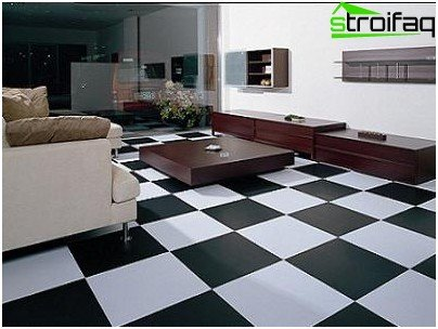 Vinyl tiles in the living room