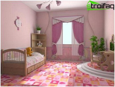 The carpet in the nursery for girls