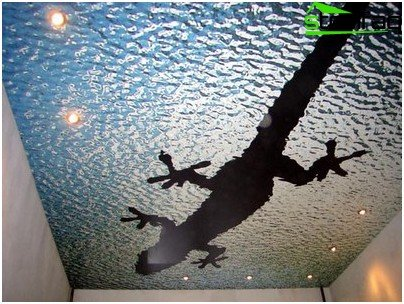 Glass ceiling with photo printing