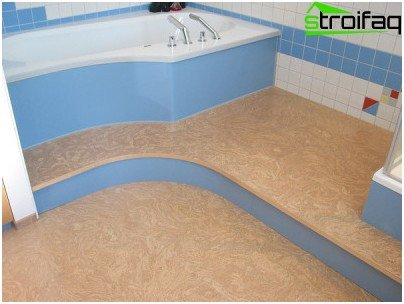 Cork flooring in the bathroom