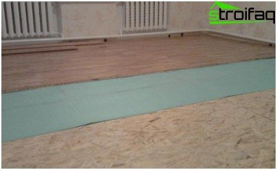 To lay the laminate is not necessary to buy expensive material on top of linoleum